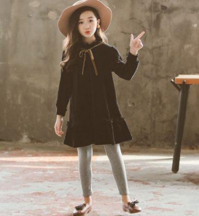 Girls Black Velvet Dress Metziahs