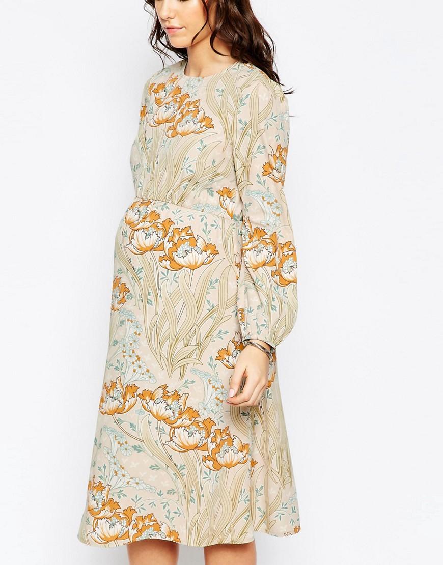 Maternity Printed Midi Dress Metziahs