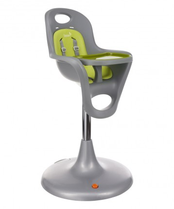 Flair Pedestal Highchair Gray Seat/Green Pad + Tray Liner