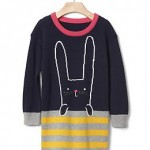 Intarsia bunny sweater dress - bunny