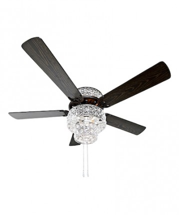Silver Punched Metal Amp Clear Crystal Ceiling Fan