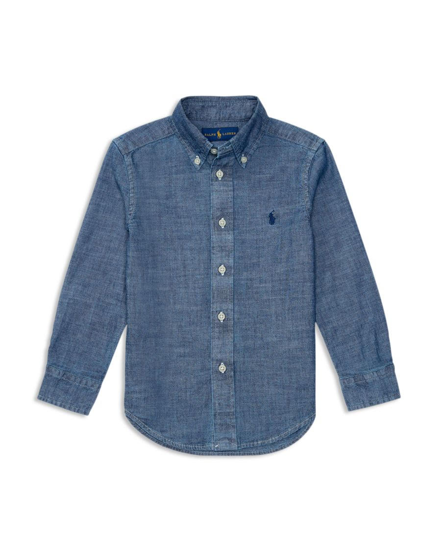 When in doubt, put him in a chambray shirt—a men's style trick we think works just as well for the little guys. Cotton. Button-down collar. Chest pocket. Machine wash. Import. Online only. Item G