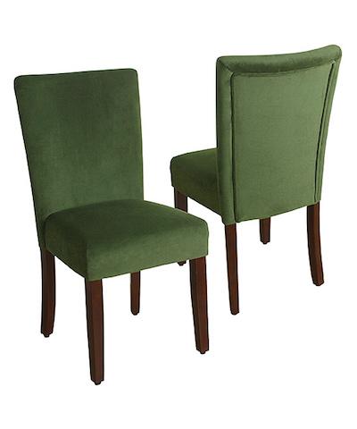 set of two green velvet parson dining chair metziahs. Black Bedroom Furniture Sets. Home Design Ideas