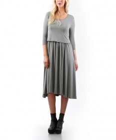 Madeleine Gray Maternity/Nursing Dress
