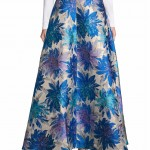 Belle Badgley Mischka Floral-Print Flared Skirt