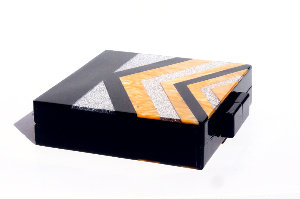 black v strip silver glitter box clutch metziahs. Black Bedroom Furniture Sets. Home Design Ideas